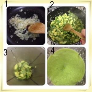 1- fritar cebola e alho na manteiga 2- acrescentar abobrinhas e temperos 3- Bater no liquificador 4- O creme depois de batido